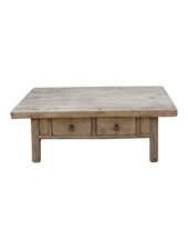 Petite Lily Interiors Raw wood coffee table w/ 2 drawers - 126x69xh46cm