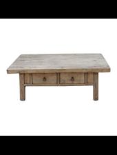 Petite Lily Interiors Table basse bois brut avec 2 tiroirs - 126x69xh46cm
