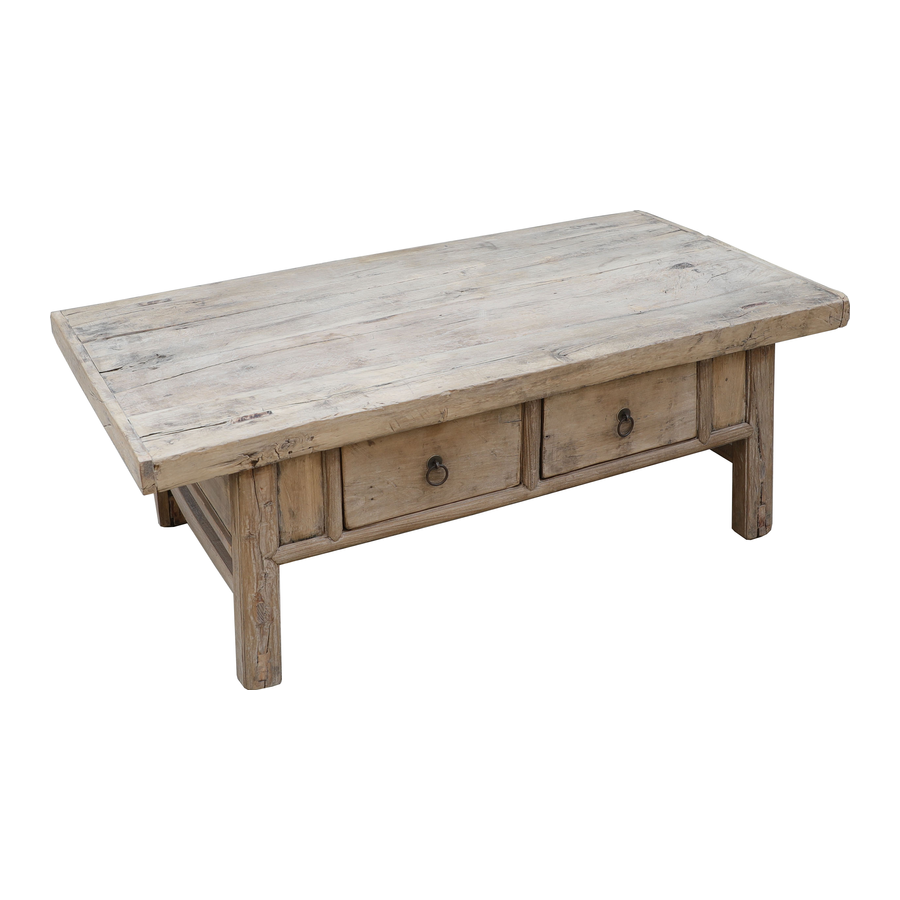 Petite Lily Interiors Raw wood coffee table w/ 2 drawers -126x69xh46cm - Elm Wood