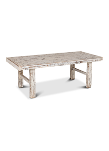 Petite Lily Interiors Raw wood coffee table - white - 119x55xh43cm