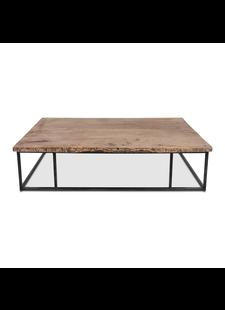 Petite Lily Interiors Table basse - métal et bois brut - 150xW90xH40cm - Piece unique