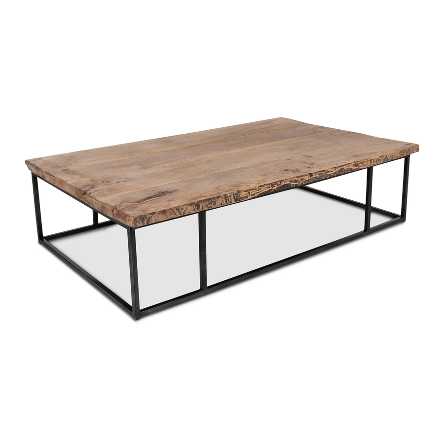 Petite Lily Interiors Industrial / raw wood coffee table - metal & wood - 150xW90xH40cm - unique item