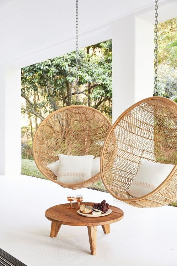 HK Living Rattan hanging bowl chair natural bohemian - 104x68cm - HK Living