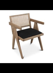 Petite Lily Interiors Chaise en bois non traité - Naturel / Noir - 54x51x74cm