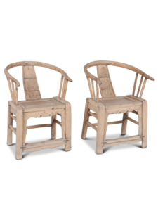 Petite Lily Interiors Set of 2 ming chairs untreated wood - Natural - 65x57x89cm