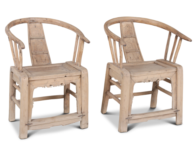 Petite Lily Interiors Set of 2 antique ming chairs untreated wood - Natural - 65x57x89cm