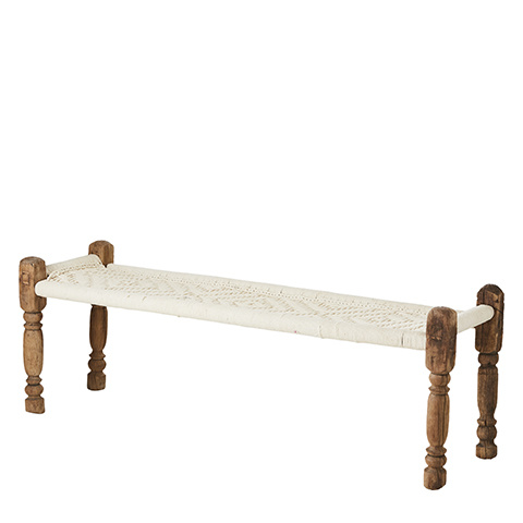 Petite Lily Interiors Indian Bench Charpoy / coffee table - wood & cord - L155xW50xH50cm