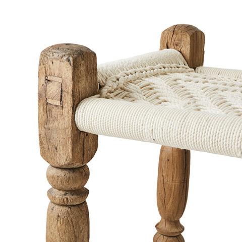 Petite Lily Interiors Banc indien Charpoy / table basse - bois et corde blanc - L155xW50xH50cm