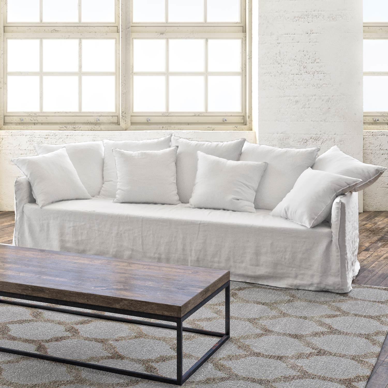 Petite Lily Interiors Canapé en lin blanc - L273xH85xW95/160cm - sur mesure