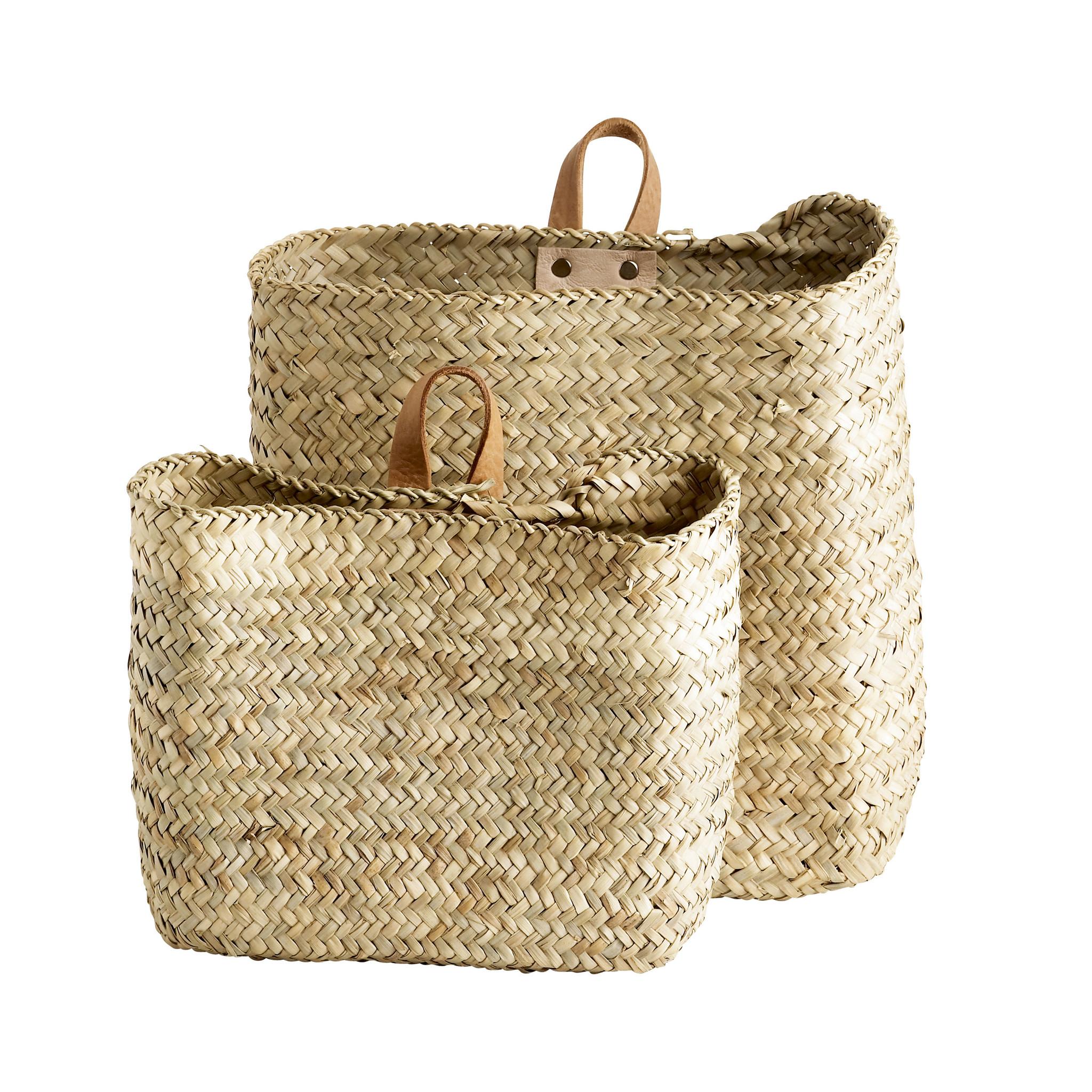 TineKHome Set of 2 Natural wall baskets - natural - 43xh35cm y 25xh23cm