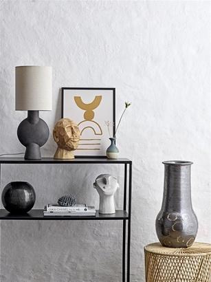 Bloomingville Lampe de bureau en Terracotta, terre cuite et lin - noir - Ø20,5xH54,5cm
