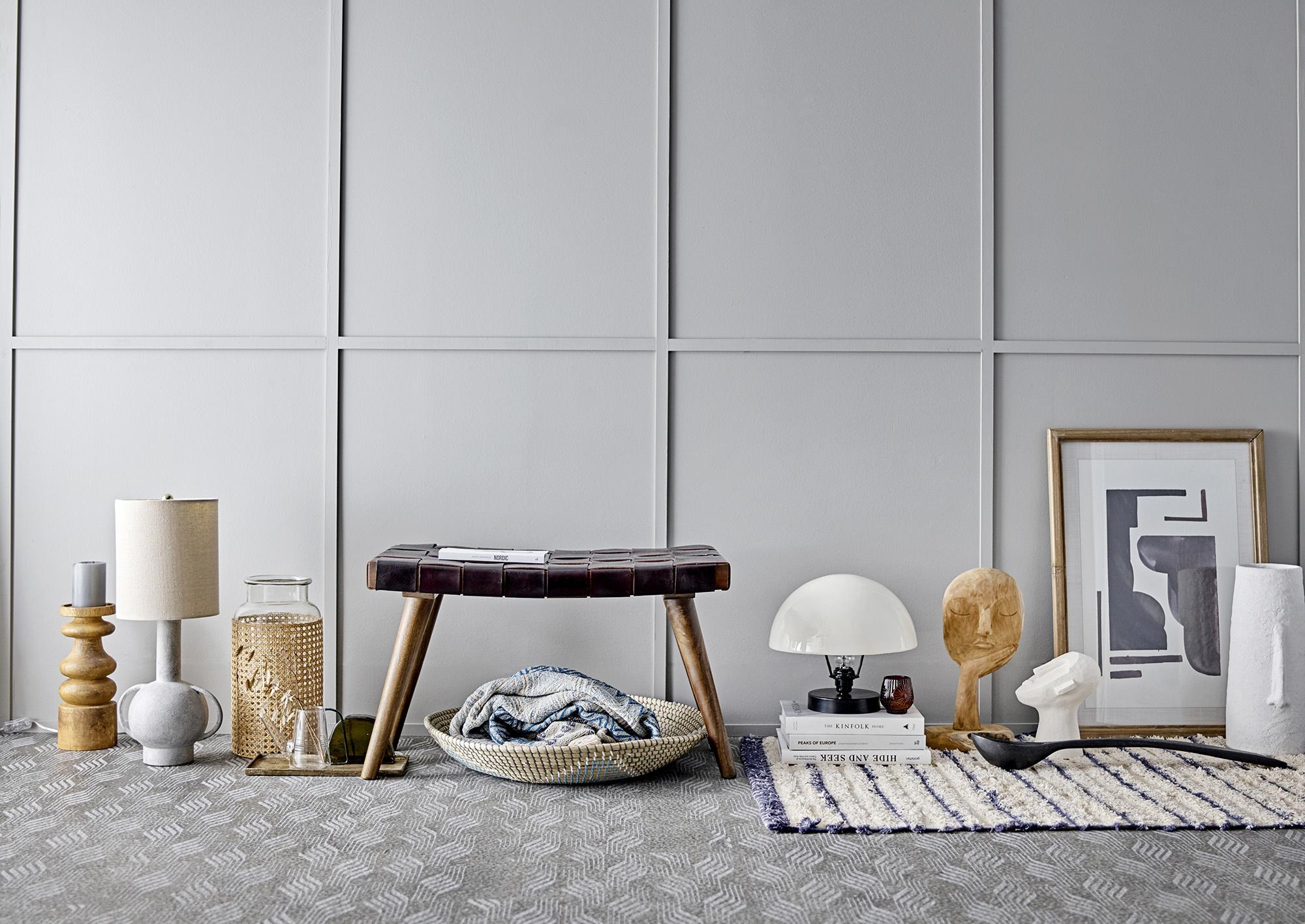 Bloomingville Lampe de bureau en Terracotta, terre cuite et lin - gris - Ø30,5xH58,5cm