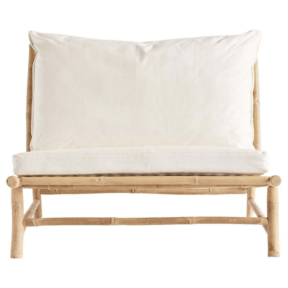 TineKHome Bamboo lounge sofa with white mattress - Outdoor - 100x87xH45/80cm