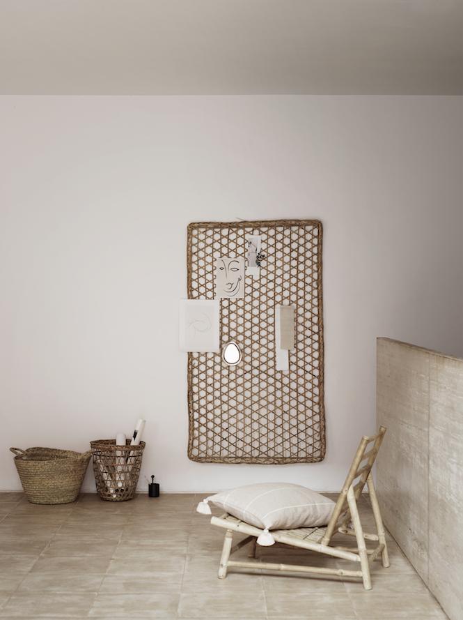 TineKHome Canapé d'extérieur en bambou avec coussin - blanc - 100x87xH45/80cm