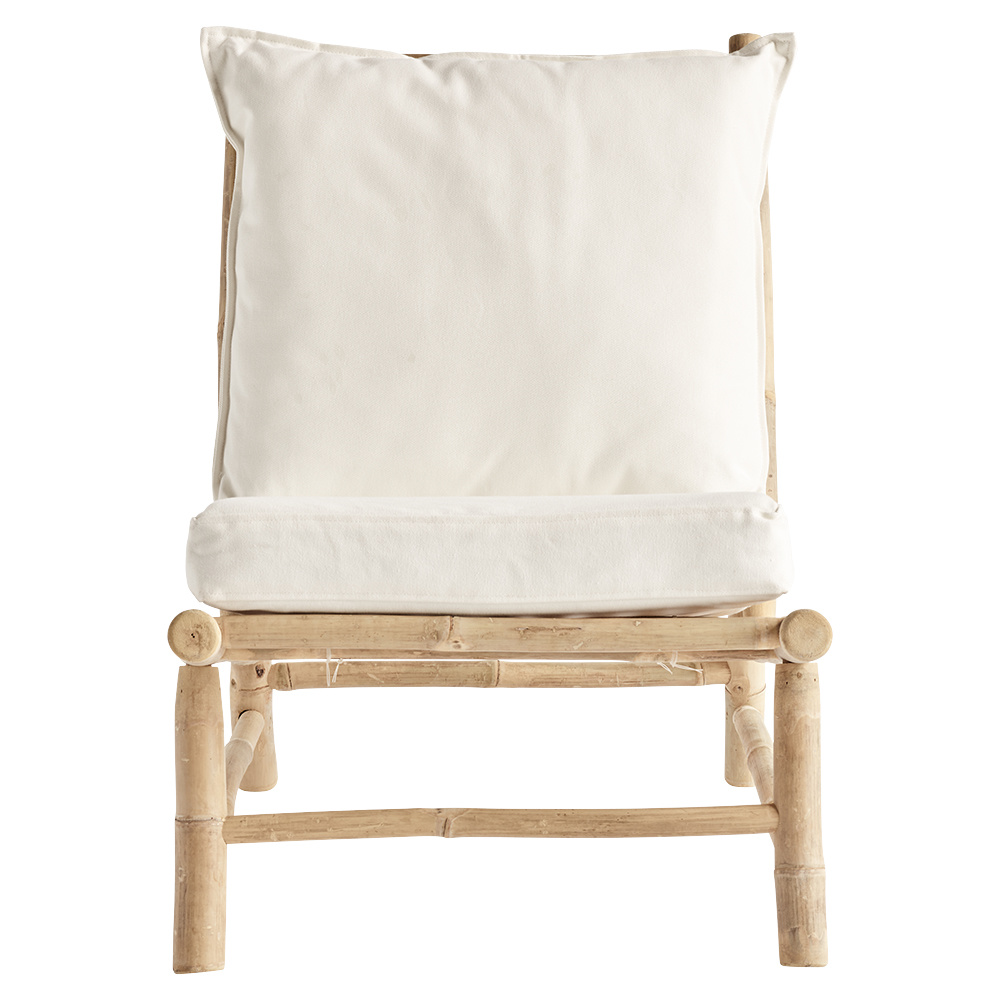 TineKHome Chaise lounge de jardin bambou - blanc / naturel - 55x87xh45/80cm
