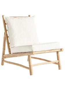 TineKHome Chaise lounge de jardin bambou - blanc / naturel - W55x87xh45/80cm