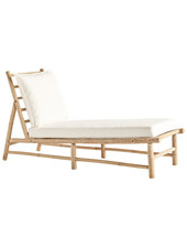 TineKHome Bamboo sunbed with white mattress - 150x55xh78cm