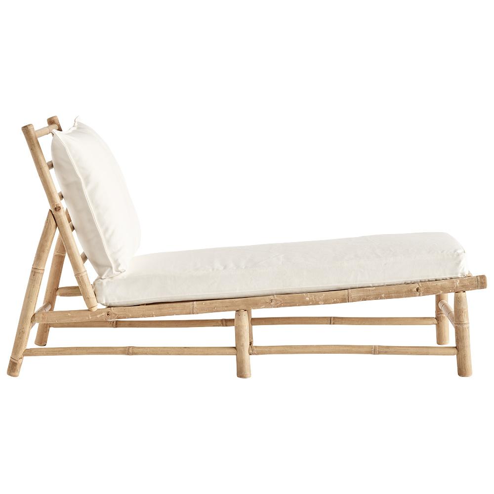 TineKHome Bamboo sunbed with white mattress - 150x55xh78cm