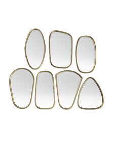 Broste Copenhagen Set of 7 mirrors 'Arte' - antique brass - 33.5XL2.3Xh48cm