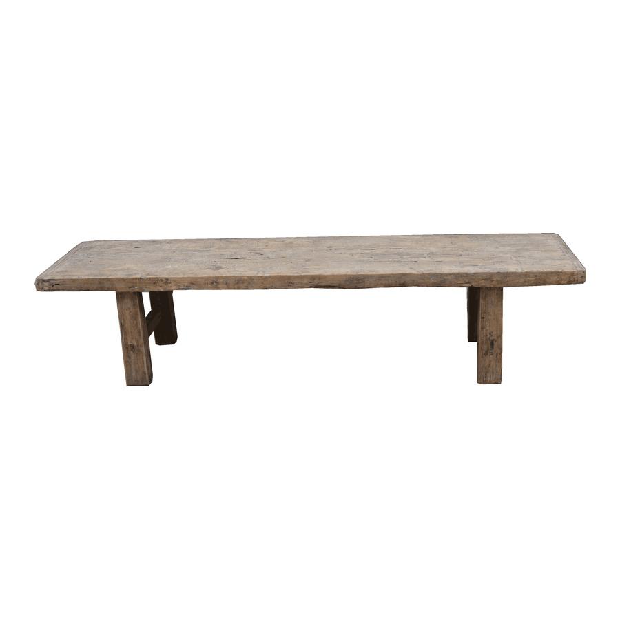 Petite Lily Interiors Table basse vintage bois brut - 190x50x43cm - Bois d'orme
