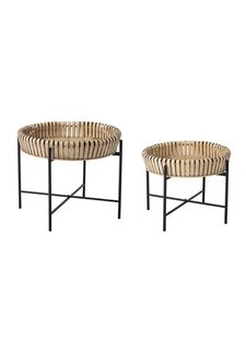 Bloomingville Set de 2 tables à café ronde - bambou - Bloomingville