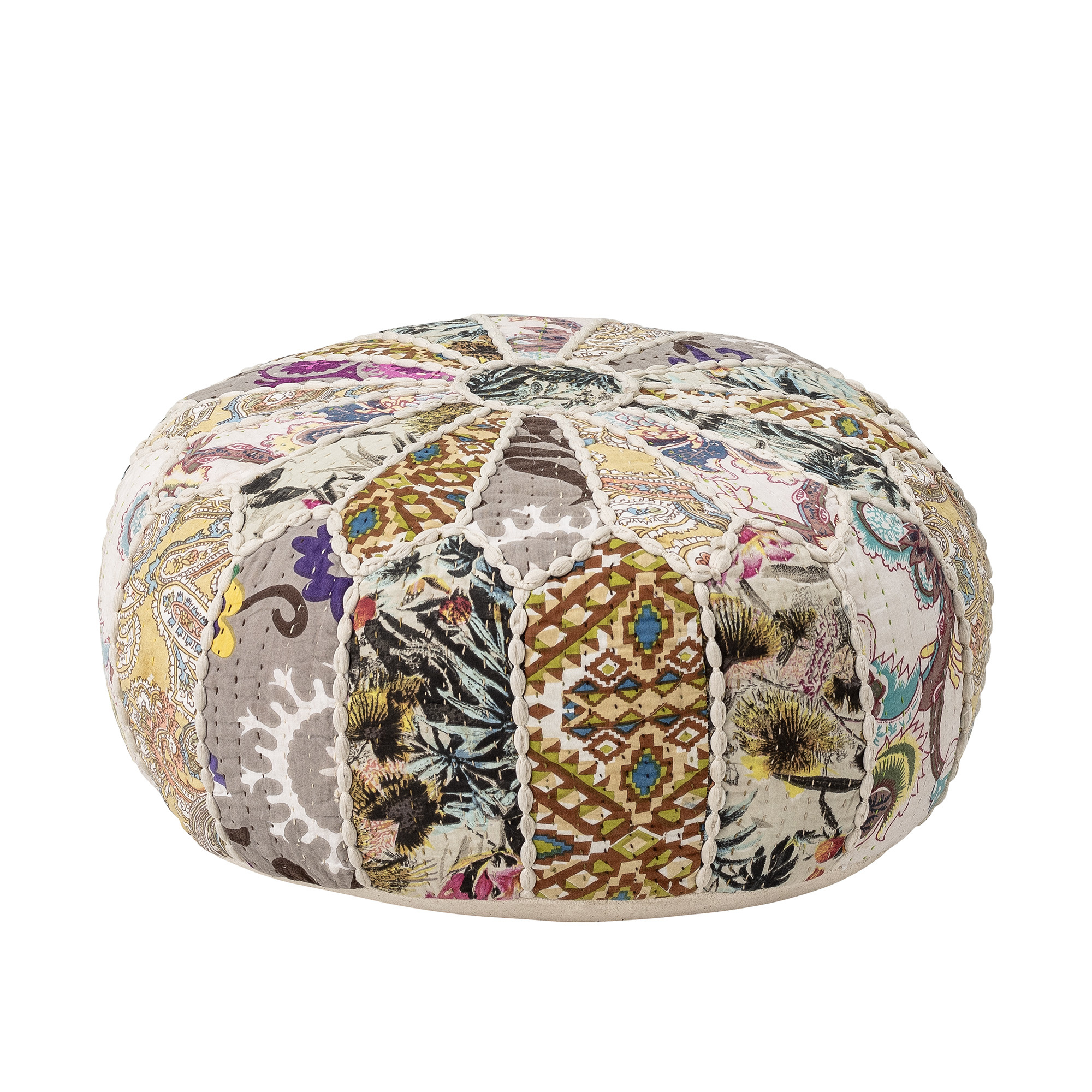 Bloomingville Pouf, Cotton- multi-color - Ø45xH20cm - Bloomingville