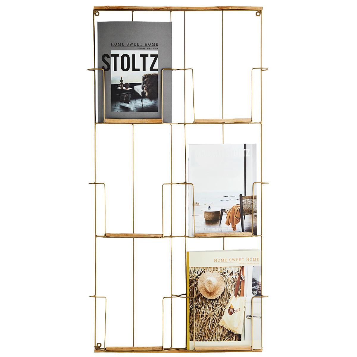 Madam Stoltz Magazine rack in brass and metal - 97x53x4cm