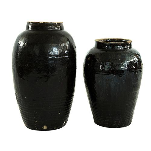 Snowdrops Copenhagen Pot vintage - Ø30xh50cm - noir - pièce unique