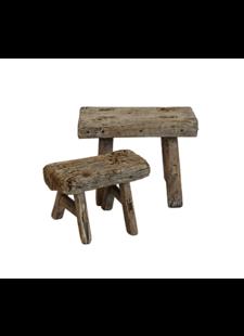 Snowdrops Copenhagen Stool wood Vintage - natural - h22cm - unique item