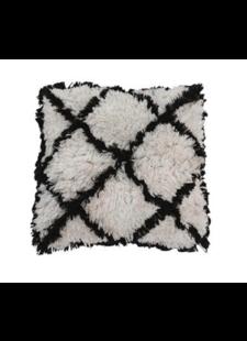 Snowdrops Copenhagen Cushion cotton HIPPIE - black/white - 50x50cm
