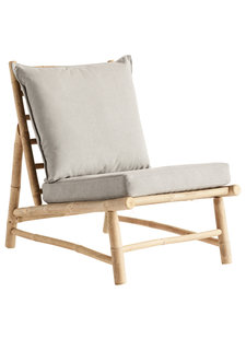 TineKHome Chaise lounge de jardin bambou - gris / naturel - W55x87xh45/80cm