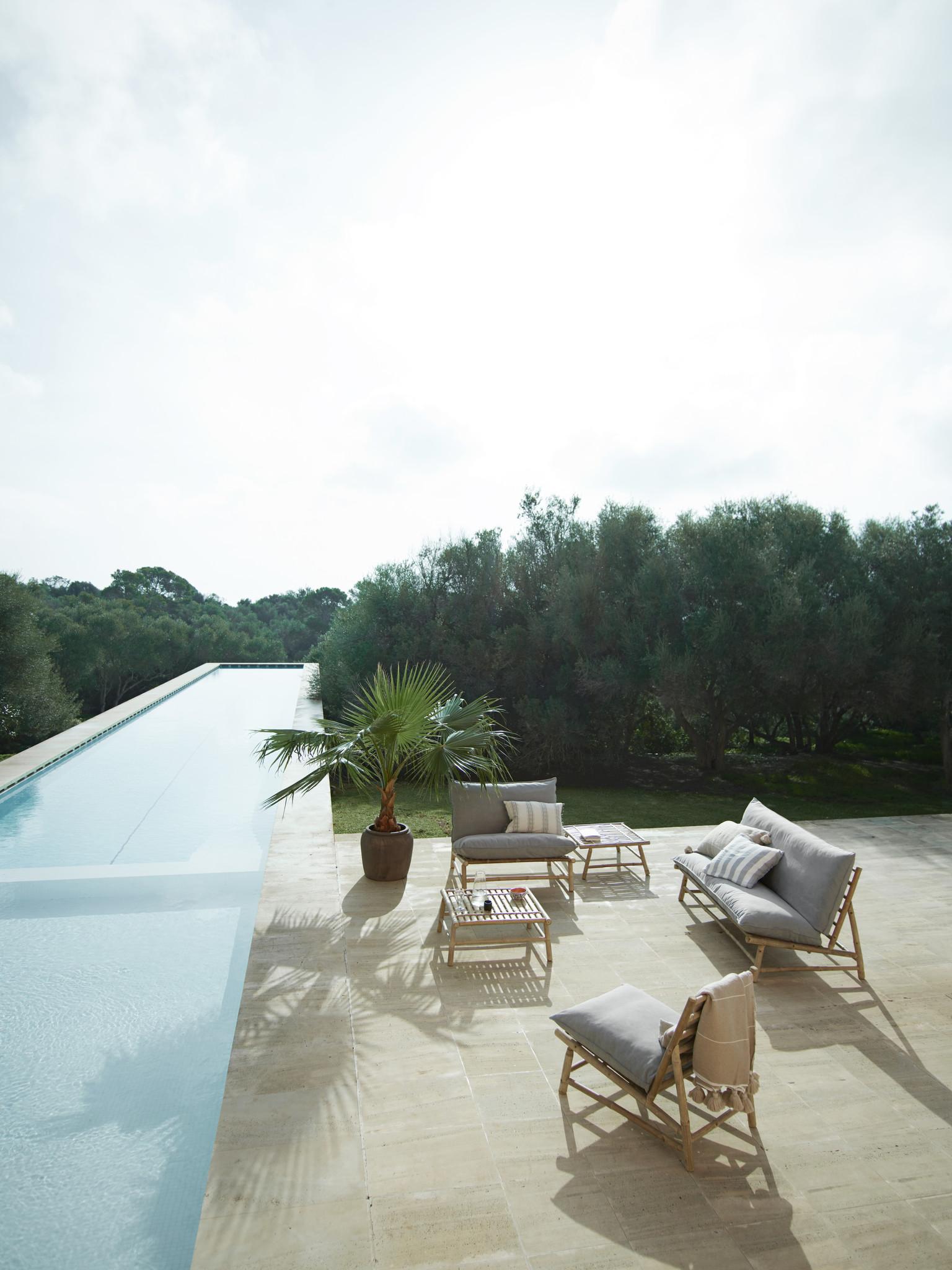 TineKHome Chaise lounge de jardin bambou - gris / naturel - 55x87xh45/80cm