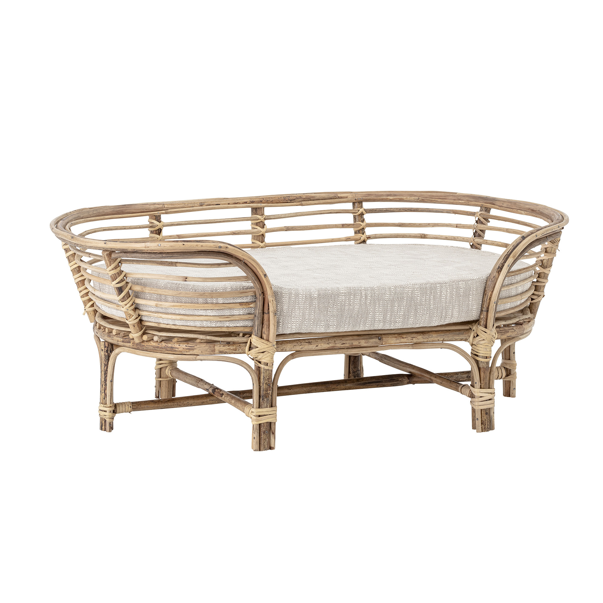 Bloomingville Dog Basket, Nature, Cane - L91xH34xW53cm - Bloomingville