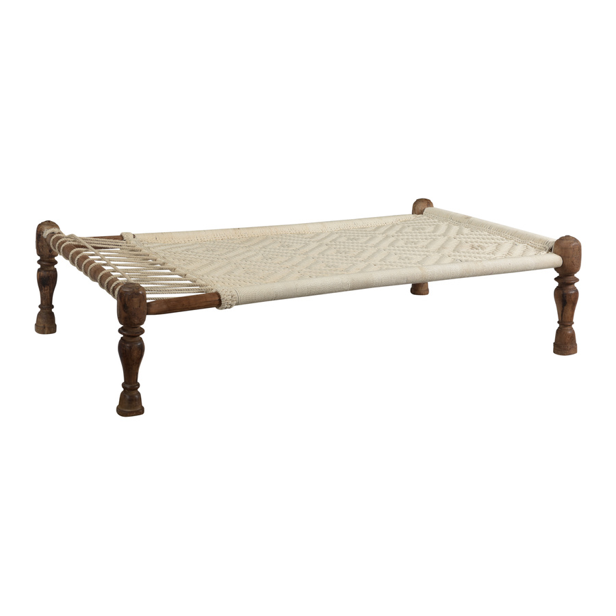Petite Lily Interiors Indian Day Bed Charpoy - wood & cord - L165xW90xH40cm