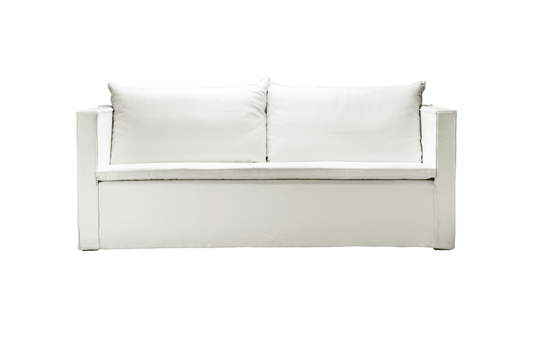 Petite Lily Interiors White linen Couch / Sofa -170-240x94xH44/75cm