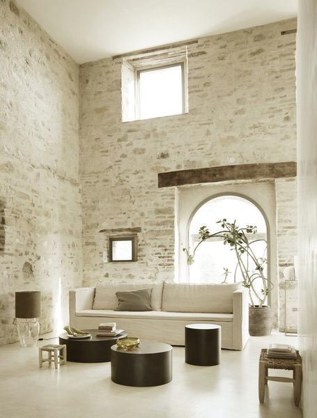 White linen/Coton Couch / Sofa - 290x94xH75cm - TinekHome