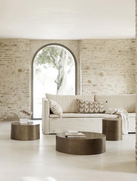 White linen Couch / Sofa - 290x94xH75cm
