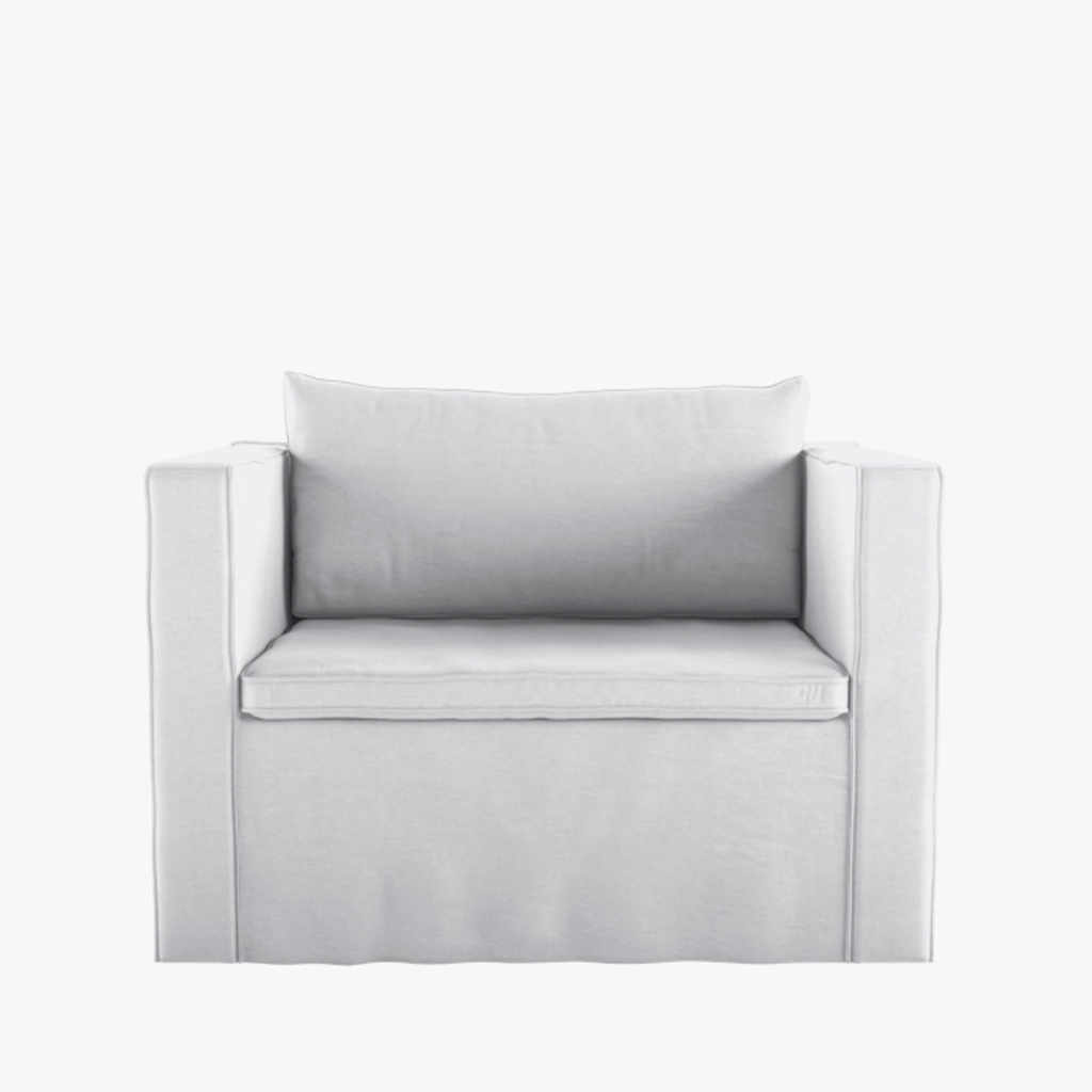 Petite Lily Interiors Fauteuil en lin - blanc - 96-120x94xH44/75cm