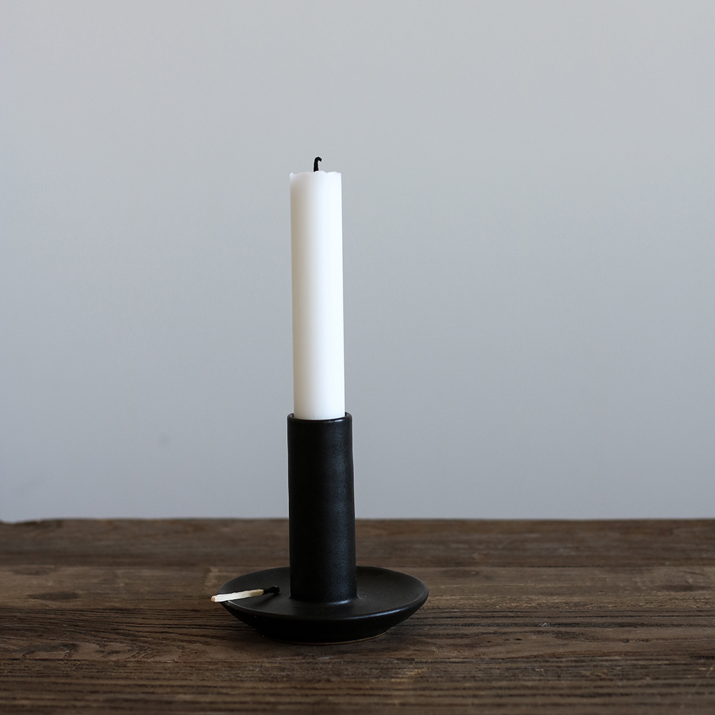 Tell me more Candle Holder - black / ceramic - L9xH9cm - Tell Me More