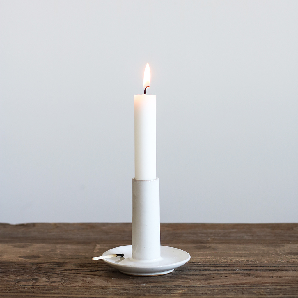 Tell me more Candle Holder - white / ceramic - L9xH9cm - Tell Me More