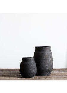 Tell me more Pot de fleur - argile - noir - Ø15xH26cm - Tell Me More