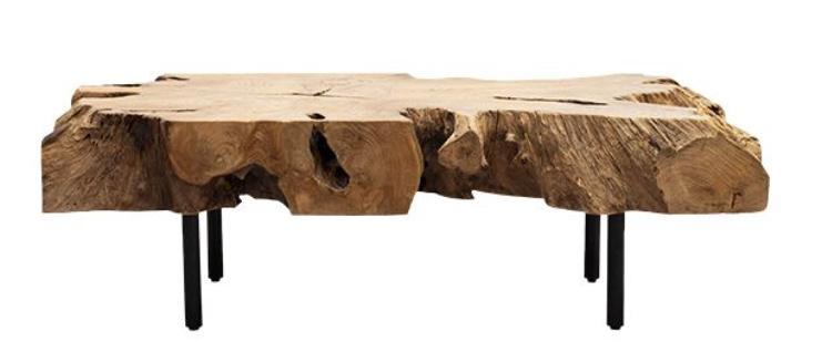Dareels Table bass arbre ROOT - 120x60xh37cm - teck y metal