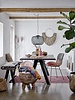 Bloomingville Stool round in wood with white linen cushion  - Ø51xH43 cm - Bloomingville