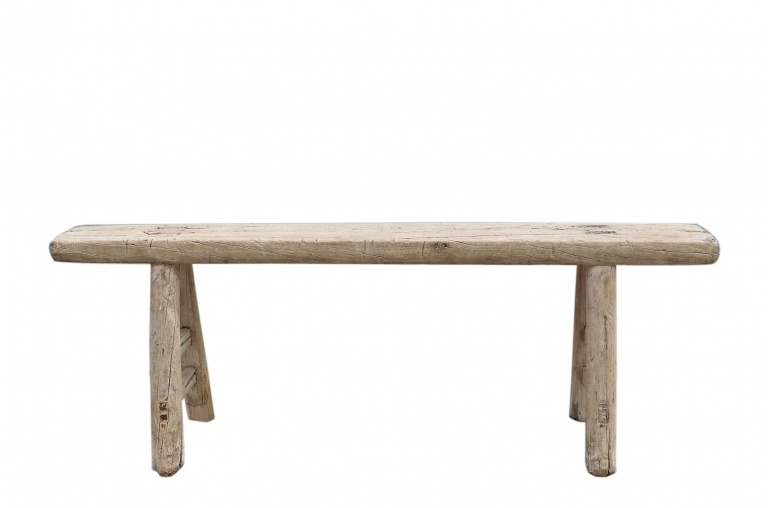 Snowdrops Copenhagen Bench Raw Elm wood - 129x16xh47cm - Unique Product