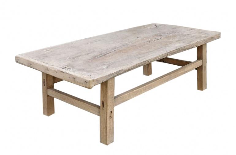 Petite Lily Interiors Table basse vintage / bois brut - 122x57xh41cm - noyer brut