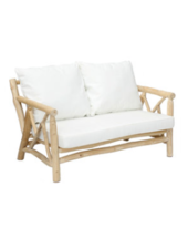 Bazar Bizar Outdoor sofa 2 seater with white cushion (130cm) - teck