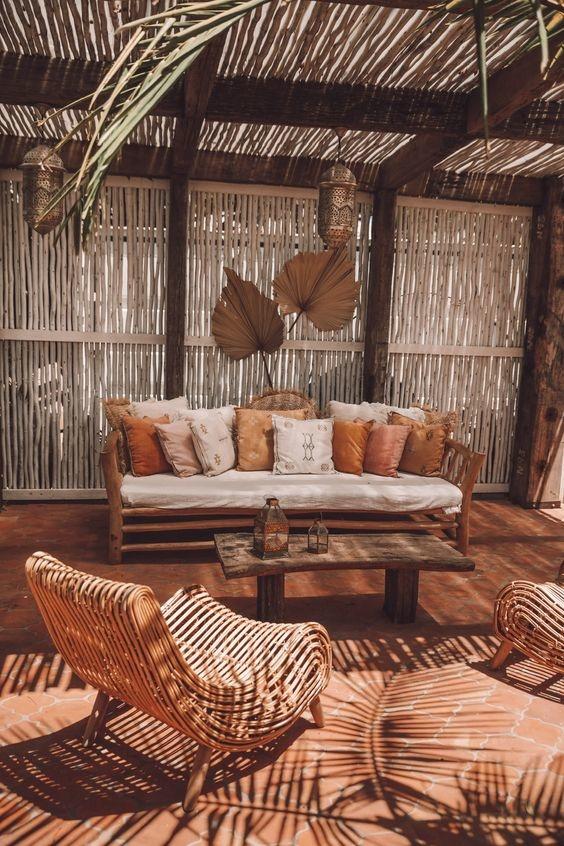 Petite Lily Interiors Fauteuil lounge rotin - naturel - 78x74x94cm
