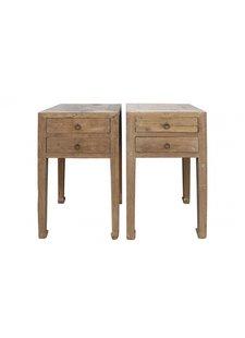 Petite Lily Interiors Lot de 2 tables chevet - bois brut - 46x46xh83cm - piece unique