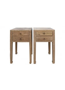 Petite Lily Interiors Set of 2 raw wood side table - elm wood - 46x46xh83cm