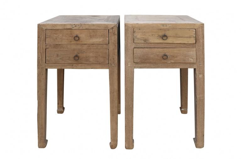 Petite Lily Interiors Set of 2 raw wood side table - elm wood - 46x46xh83cm - piece unique